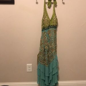 Size 8 halter top cocktail dress in blue and green